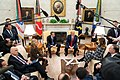 President Trump and the First Lady Visit with the Prime Minister of the Hellenic Republic and Mrs. Mareva Grabowski-Mitsotakis (49350787423).jpg
