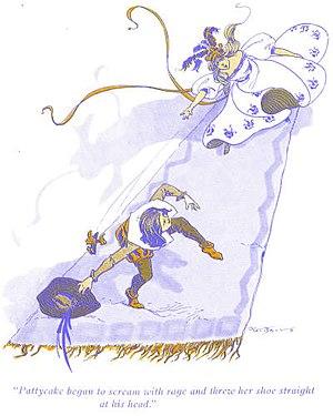 The Magical Monarch of Mo - Princess Pattycake lobs a shoe at Prince Timtom