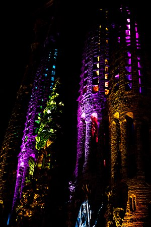 Moment Factory - Projection mapping created by Moment Factory at the facade of the Sagrada Família in 2012.