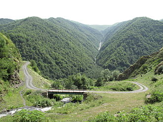 "Pshavi - The Tsikhetgora Bridge in Pshavi ""proper"", just east of the village of Shuapkho"