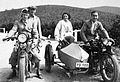 Puch-brand, Belgian brand, motorcycle with sidecar, excursion, motorcycle, Austrian brand, men, woman, free time, travelling, mountain, breech, leather cap, number plate Fortepan 12589.jpg
