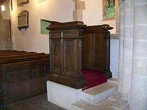 English: Pulpit at St Nicholas' Church, Worth ...