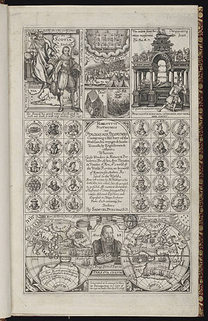 Samuel Purchas - Title page of Samuel Purchas's magnum opus: Hakluytus Posthumus, or Purchas his Pilgrimes, London, 1625