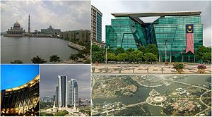 Putrajaya - Top left to right: Putra Mosque and Perdana Putra, Ministry of Health building Bottom left to right: Ministry of Finance Complex, Putrajaya, high rise ministry complexes, Putrajaya's Presint 1 from above
