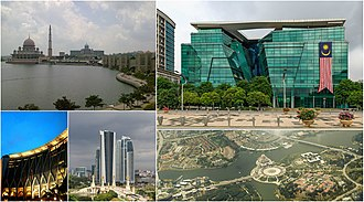 Putrajaya - Top left to right: Putra Mosque and Perdana Putra, Ministry of Health building Bottom left to right: Ministry of Finance Complex, Putrajaya, high rise ministry complexes, Putrajaya's Precinct 1 from above