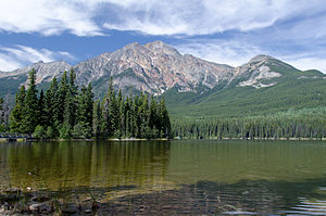 Pyramid Mountain (Alberta) - Pyramid Mountain from Pyramid Lake, August 2012
