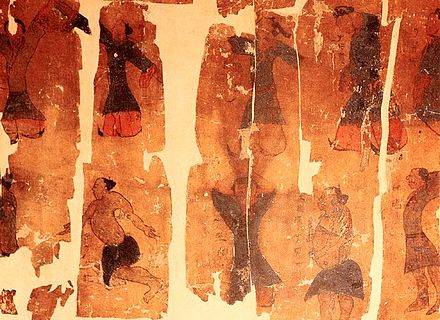 The physical exercise chart; a painting on silk depicting the practice of Qigong Taiji; unearthed in 1973 in Hunan Province, China, from the 2nd-century BC Western Han burial site of Mawangdui, Tomb Number 3. Qigong taiji meditation.jpg