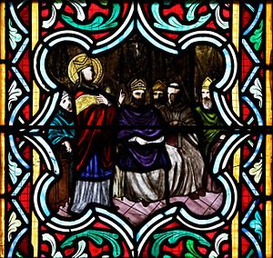 Council of Bari - St Anselm speaking before the council, from a 19th-century stained-glass window in Quimper Cathedral in Brittany.