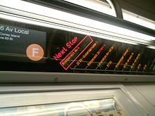 The R160 FIND system on a Coney Island-bound F train