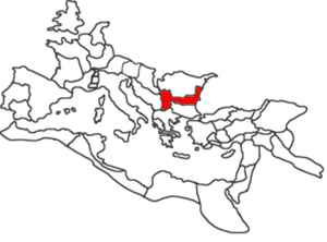 Moesia - Provinces of Moesia Inferior (right) and Moesia Superior (left) highlighted