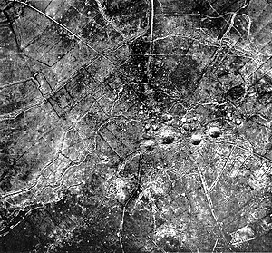 172nd Tunnelling Company - An aerial view of St Eloi, photographed on 1 April 1916. The craters created by the D2, D1, H4 and H1 mines are clearly visible.