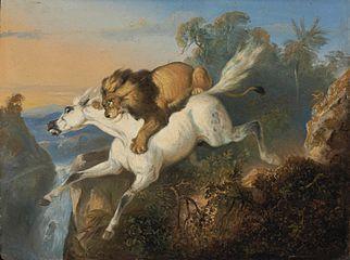 Raden Sarief Bustaman Saleh - Lion attacking a horse