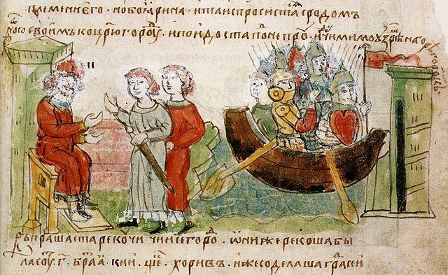Рюрик разрешает Аскольду и Диру отправиться с походом на Царьград. Радзивилловская летопись. Миниатюра.
