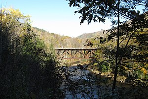 Rowe, Massachusetts - Railroad bridge across the Deerfield River between Monroe and Rowe