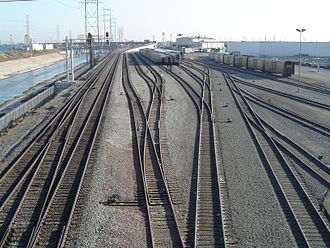 Rail yard - Yard for Amtrak equipment, located next to the Los Angeles River. The two tracks on the left are the mainline.