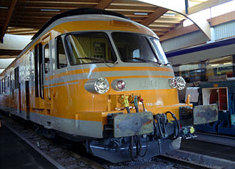 SNCF Class T 2000 - Preserved RTG power car, no. T 2057 on display at the French National Railway Museum.