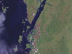 Satellite image around Ranong