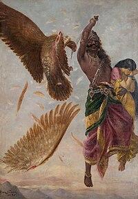 Ravana cuts Jatayu's wings, Raja Ravi Varma (1848-1906)