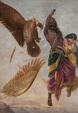 In this painting, Ravana is seen cutting the wings of Jatayu with his sword Chandrahas.
