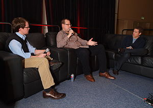 Joseph Staten - Staten (left) discusses building game franchises at the 2010 Game Developers Conference.