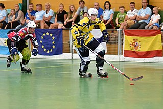 Roller in-line hockey team sport played on roller skates