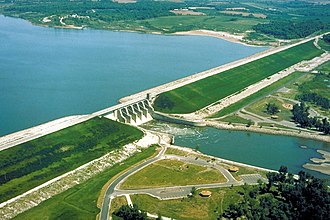 Marion County, Iowa - Red Rock Lake and Dam in Marion County near Pella. Elk Rock State Park is situated on both sides of the lake to the northwest. County road T15 crosses over the dam.