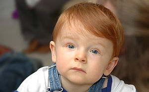 Redheaded child mesmerized.