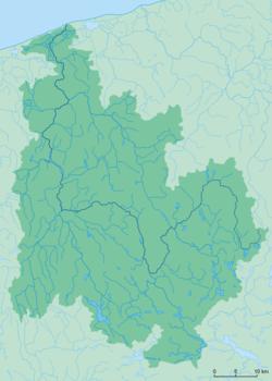Polski: Sieć hydrograficzna zlewni rzeki Regi