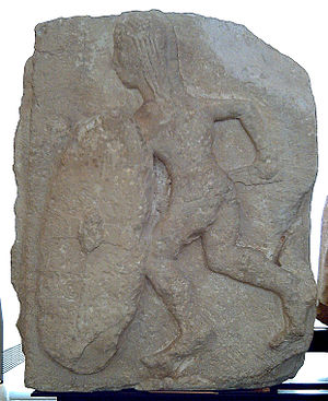 Second Punic War - Iberian warrior from bas-relief c. 200 BC. The warrior is armed with a falcata and an oval shield.National Archaeological Museum of Spain, Madrid