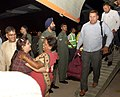 Rescued persons from quake-hit Nepal are de-boarding from an IAF transport aircraft, at Palam airport, in New Delhi (2).jpg