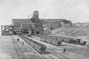 Dominion Steel and Coal Corporation - A Dominion Coal Company colliery in Reserve Mines, Nova Scotia, ca. 1900.  This mine would become one of numerous assets of the Dominion Steel and Coal Corporation upon its founding in 1928 through corporate acquisitions.