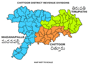 Tirupati revenue division - Image: Revenue divisions map of Chittoor district