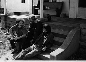 Hundred Flowers (newspaper) - Richard Dworkin, Ed Felien, Warren Hanson in front of the Hundred Flowers commune.