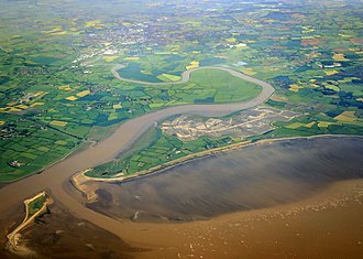 River Parrett - Aerial view of the mouth of the River Parrett as it flows into Bridgwater Bay