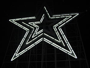 Roanoke Star - The Roanoke Star on its first night lit in white following the Virginia Tech massacre. Note several sections out.