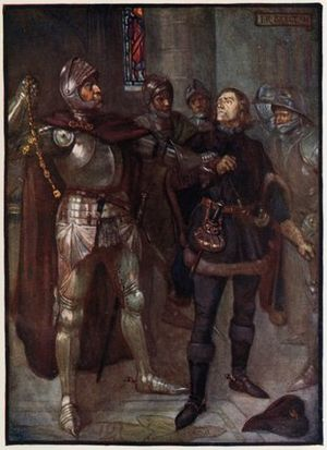 Robert Cochrane (favourite) - A 1906 illustration depicting Robert Cochrane (right) being arrested by the Earl of Angus in 1482