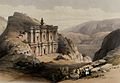Rock temple of el-Derr at Petra. Coloured lithograph by Loui Wellcome V0049423.jpg