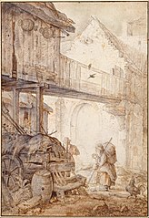 Derelict Courtyard with a Beggar Woman