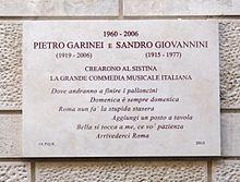 La targa a Garinei e Giovannini