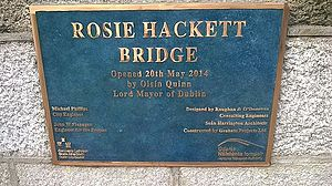 Rosie Hackett - Plaque on Rosie Hackett Bridge September 2014