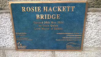 Rosie Hackett - Plaque on Rosie Hackett Bridge September 2014