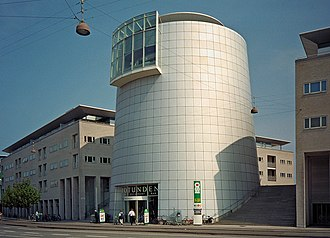 Building - The Rotunda in Hellerup, Denmark, a cylindric building made in steel frame and aluminum