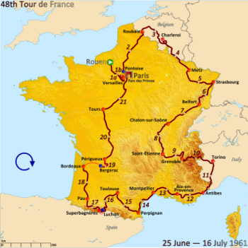 Route of the 1961 Tour de FranceFollowed clockwise, starting in Rouen and finishing in Paris