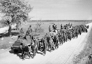 British RAF field regiment in Croatia with German prisoners captured by partisan forces at Bihać