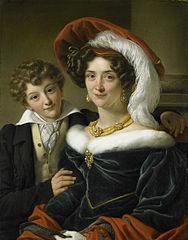 Portrait of Rudolphina Wilhelmina Elizabeth de Sturler, second Wife of Count Johannes van den Bosch with their Son Richard Leeuwenhart