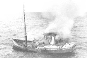 Rum-runner Linwood set afire to destroy evidence