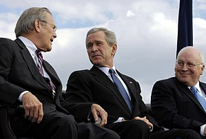 George W. Bush presidential campaign, 2004 - Cheney (far right) with former Defense Secretary Donald Rumsfeld and President Bush