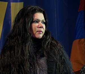 Domestic responses to the Euromaidan - Ruslana on stage at Maidan Nezalezhnosti on 18 December 2013
