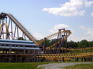 Batwing roller coaster at Six Flags America.