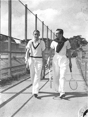 Pat Hughes (tennis) - Pat Hughes left and Fred Perry at White City in the 1934-1935 summer before the January 1935 Melbourne Centenary Australian Championships at Kooyong